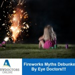 Little girl looking at fireworks.