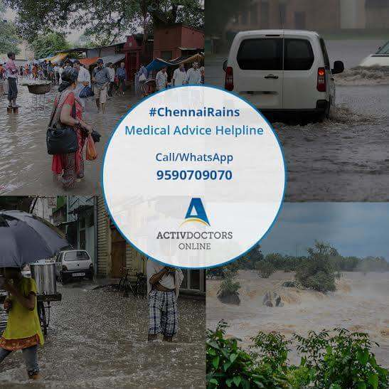 Free medical helpline for medical advice and information for people affected by Chennai rains.